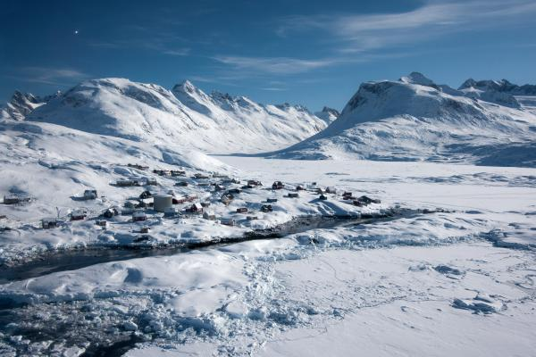 An aerial view of Tiniteqilaaq, a small settlement on Greenland's east coast.