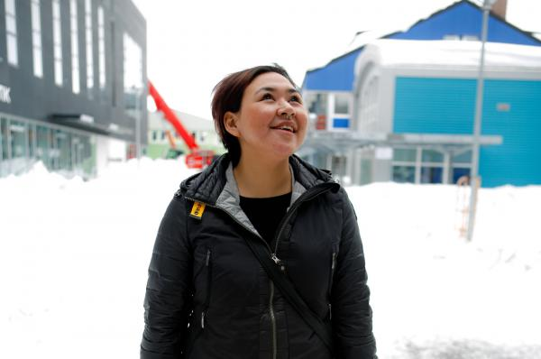 """Greenland native Nina-Vivi Andersen, pictured in downtown Nuuk, Greenland, has her own perspective on the word Eskimo: """"I don't mind to be called Eskimo — it is neutral for me. But when I saw an ice cream store in London with a name — Eskimo — it felt weird. But I feel weird to be called Inuit, too. I'm just a Greenlander."""""""