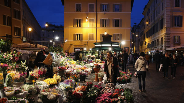 """Writer Michael Kimmelman says Rome's Campo de' Fiori is """"one of the most beautiful squares in Europe. ... It's a hub of life."""""""
