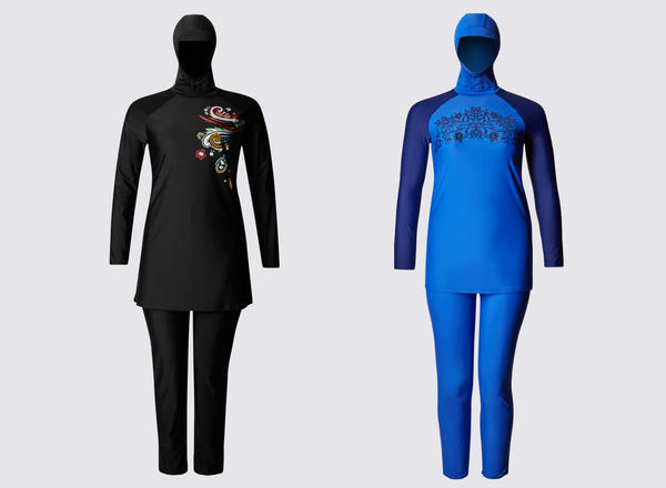 "Some women in France say they feel conflicted by a growing presence of Islamic fashion, including the ""burkini,"" a full-body swimsuit. These two are marketed by Marks & Spencer."