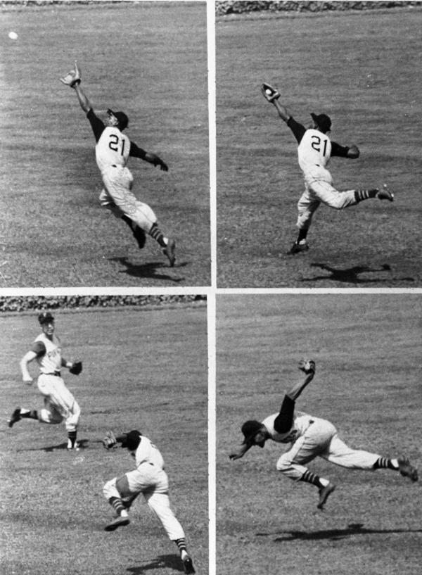This series shows Pittsburgh Pirates' right fielder Roberto Clemente making a sensational backhanded catch of a long drive by Bobby Thomson of the Cubs in 1958. The Puerto Rico series was intended to honor Clemente, a Hall of Fame player who died in 1972 while trying to deliver aid to earthquake victims in Nicaragua.