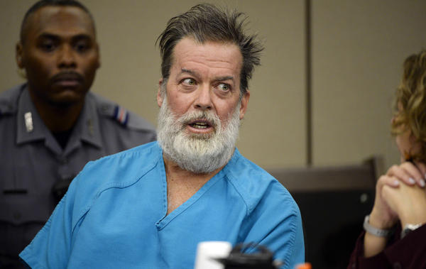 Robert Dear talks during a court appearance in Colorado Springs, Colo., on Dec. 9, 2015. He was found incompetent to stand trial for a shooting at a Planned Parenthood clinic that killed three people.