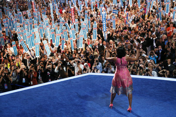 Michelle Obama takes the stage during the Democratic National Convention on Sept. 4, 2012 in Charlotte, N.C.