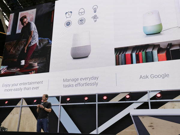 Google Vice President Mario Queiroz talks about the uses of the new Google Home device during the keynote address of the Google I/O conference in Mountain View, Calif.