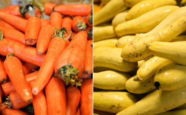 Carrots and squash will need to be sliced and diced.