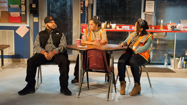 """Dez, Faye and Shanita (played by Jason Dirden, Lynda Gravatt and Nikiya Mathis) are the """"skeleton crew"""" left behind in a Detroit auto plant after layoffs in 2008."""