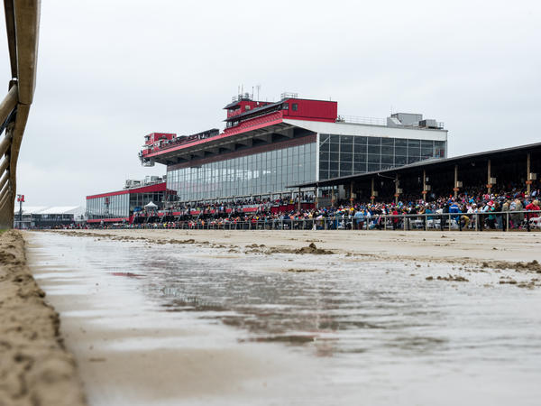 The wet track at Pimlico Race Course was a mire of mud by the end of the day in Baltimore.