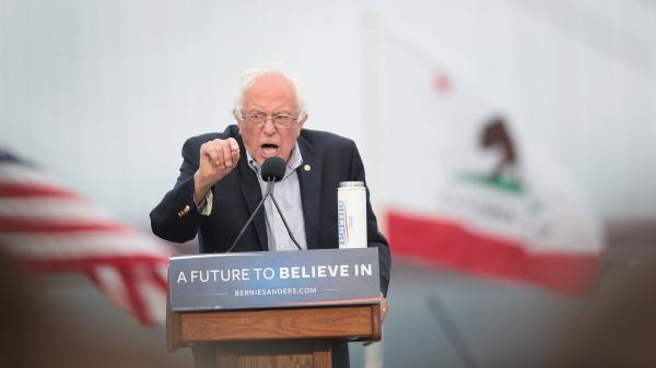 Democratic presidential candidate Sen. Bernie Sanders addresses a crowd during a campaign rally earlier this week in San Francisco.