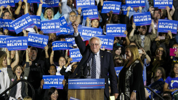 Bernie Sanders arrives at his campaign rally in Santa Monica, Calif., on Tuesday.