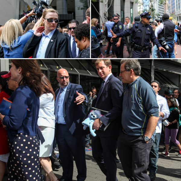 Heavy police and Secret Service presence surrounded Sanders as he made unplanned stops in neighborhoods across San Francisco on June 6.