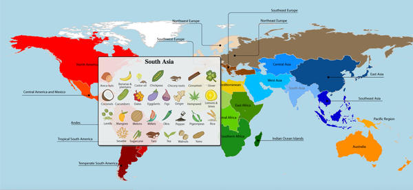 """A new study reveals the full extent of globalization in the world's food supply. The researchers put together a series of interactives that visualize the results. Here's a screen grab, which shows crops that originate in South Asia. <strong><a href=""""http://blog.ciat.cgiar.org/origin-of-crops/"""">Click here to see more interactive maps.</a></strong>"""