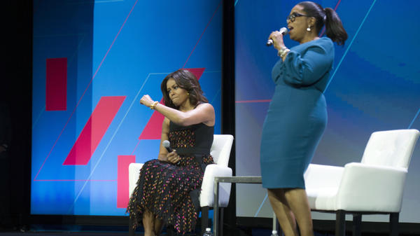 First lady Michelle Obama and Oprah Winfrey at the White House Summit on the United State of Women on Tuesday.