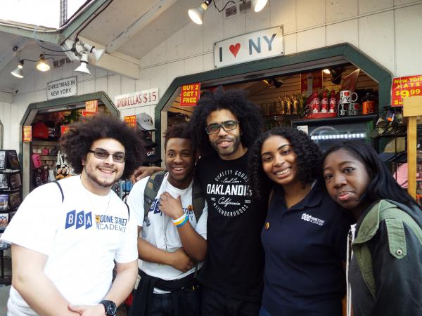 Students Christopher Zaragoza, Christopher McKenney, Rahzel Muschamp and Tootie Uwaifo with Daveed Diggs (center), who plays Lafayette and Thomas Jefferson in <em>Hamilton</em>.
