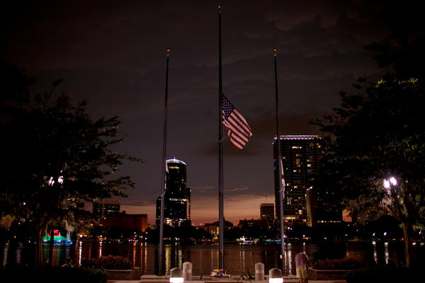 At Orlando's Lake Eola, a flag flies at half-staff on June 14 for victims of the Pulse shooting.