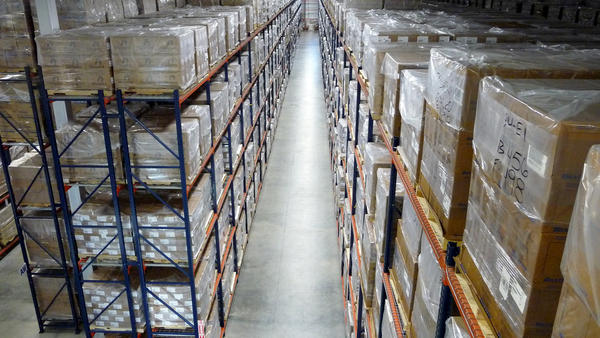 Stacks of boxes containing critical supplies stretch almost as far as the eye can see in this Strategic National Stockpile warehouse.