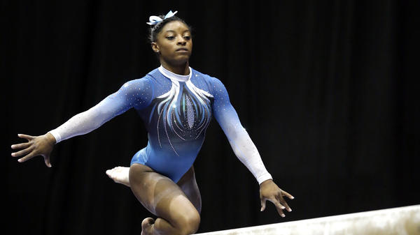 Simone Biles took first place overall in the U.S. women's gymnastics championships on June 26 in St. Louis. Biles is expected to win several gold medals in the Olympics.