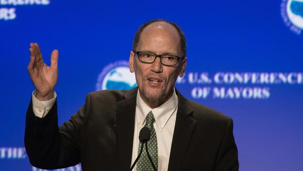 U.S. Labor Secretary Tom Perez speaks at the 84th annual Winter Meeting of The United States Conference of Mayors in January.
