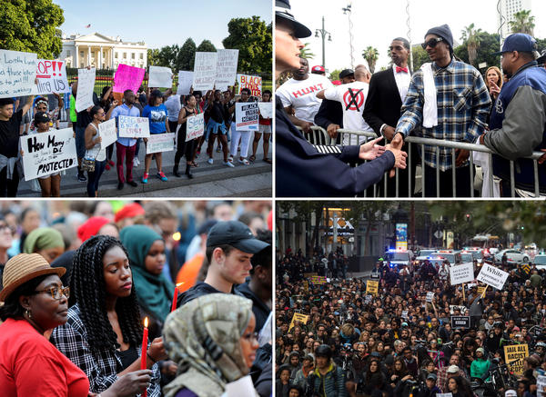 (Clockwise from top left) Protestors in front of the White House on Friday; Rapper Snoop Dogg is greeted by police officer Beatrice Girmala on Friday in Los Angeles, Calif. during a peaceful demonstration; Hundreds held a rally and march along Market Street in San Francisco, Calif; Madia Alluding (left) and her granddaughter Danielette Johnson hold candles at city hall in Portland, Maine.