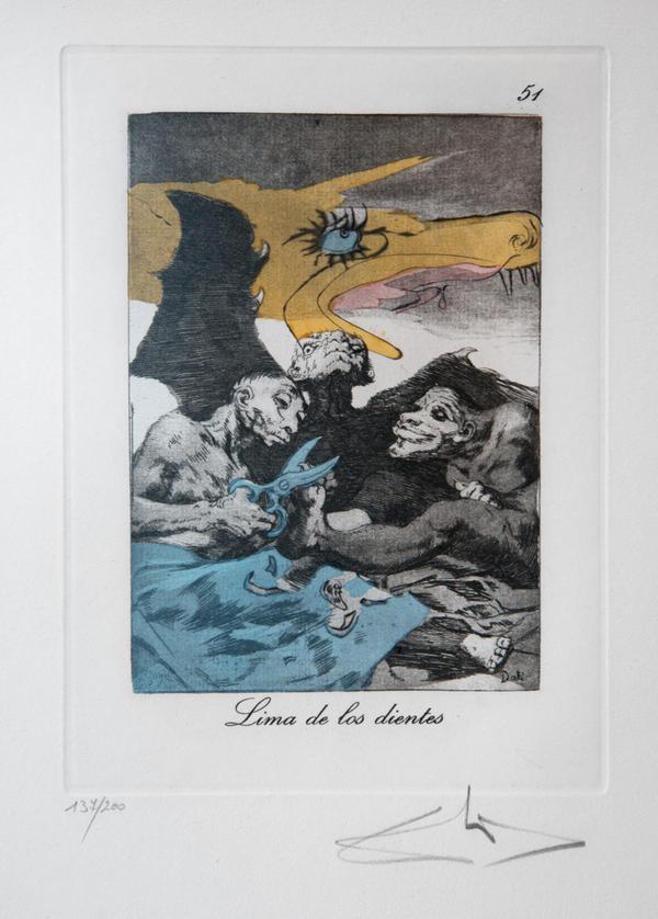 <em>Lima de los dientes,</em> an etching from <em>Les Caprices De Goya De Salvador Dalí</em>