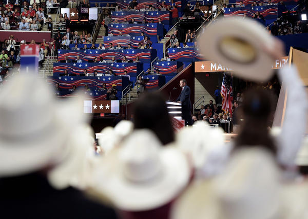Delegates from Texas listen as Texas senator and former Republican presidential candidate Ted Cruz addresses Wednesday evening's session of the Republican National Convention in Cleveland.