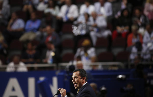 Sen. Ralph Alvarado Jr., a Republican from Kentucky, speaks during the Republican National Convention in Cleveland on Wednesday evening.