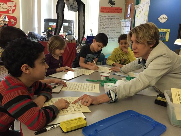 Amy Moylan's first-graders learn about place values. At the Baldwin School in Cambridge, Mass. — and at most schools around the country — the math curriculum is very similar to the approach used in Italy in the 1500s to teach the children of merchants and accountants.