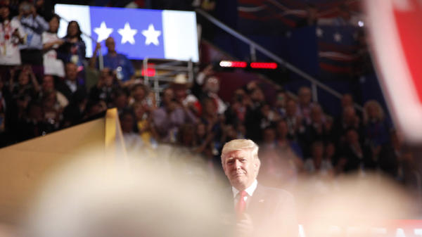 GOP presidential nominee Donald Trump speaks during the final night of the Republican National Convention in Cleveland.