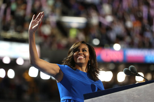 First lady Michelle Obama acknowledges the crowd before delivering her speech during the Democratic National Convention in Philadelphia on Monday.