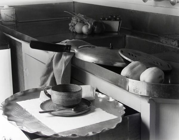 """Imogen Cunningham, <em>My Kitchen Sink</em>, 1947, with the recipe: <a href=""""#borscht"""">Imogen Cunningham's Borscht</a>."""