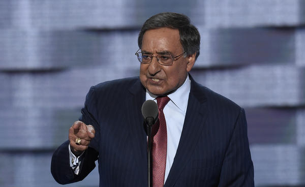 Former Secretary of Defense Leon Panetta speaks during the third evening session of the Democratic National Convention.