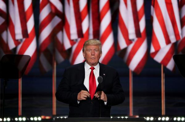 Donald Trump matches his background during his speech accepting the Republican presidential nomination.
