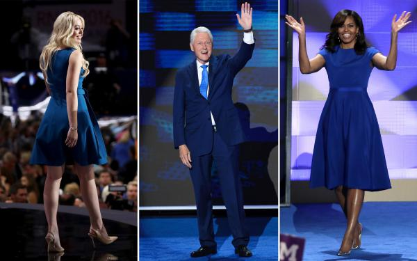 Tiffany Trump, Bill Clinton and Michelle Obama play it cool in shades of blue.