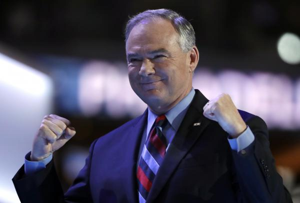 Democratic vice presidential candidate Virginia Sen. Tim Kaine skipped the white and went for a blue shirt with a striped tie for his speech on Wednesday.