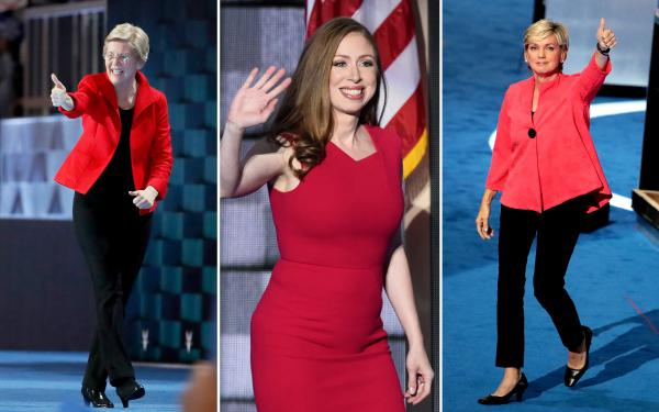 Left to right, Massachusetts Sen. Elizabeth Warren, Chelsea Clinton and former Michigan Gov. Jennifer Granholm stood out in bright red.