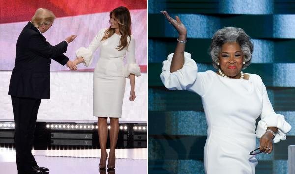 Both Melania Trump and Ohio Rep. Joyce Beatty seem to enjoy puffy sleeves and a clean silhouette.