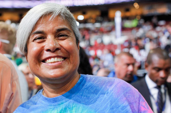 Carmen Guzman of McLean, Va., and originally from Oaxaca, Mexico on the final day of the Democratic National Convention.