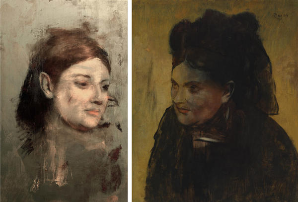 (Left) This photo provided by Australian Synchrotron and the National Gallery of Victoria, shows an image discovered with X-ray fluorescence microscopy, beneath Edgar Degas' <em>Portrait of a Woman</em>. (Right) Degas' painting <em>Portrait of a Woman</em>.