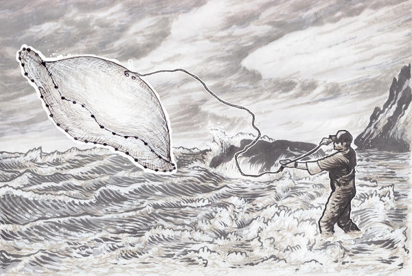 An illustration from Lombard's new book, showing a man throwing a cast net into the surf.