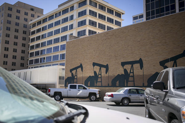 Pump jacks decorate the side of a building in downtown Midland.