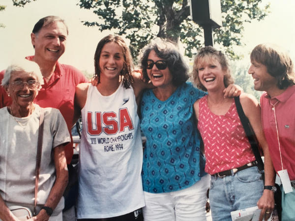 Swimmer Cristina Teuscher Fabbri (third from left) with her family and coach John Collins (right) at the 1994 World Championships in Rome.