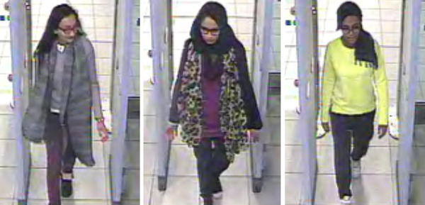 In images taken from CCTV issued by the Metropolitan Police in London, Kadiza Sultana, 16, (left), Shamima Begum, 15, (center) and Amira Abase, 15, (right) go through security at Gatwick airport in February 2015, before they caught their flight to Turkey.