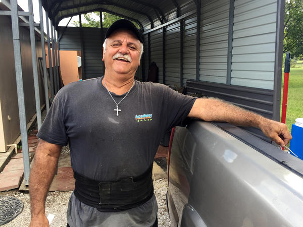 Wayne LeBlanc's home and shop in Maurice, La., were inundated with floodwater. While he awaits word on his application for FEMA assistance, he is staying in his camper at his sister's place nearby.