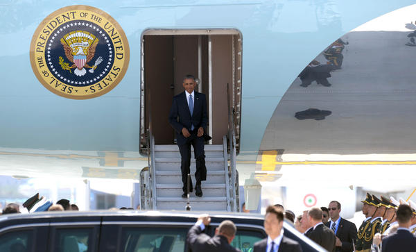 U.S. President Barack Obama disembarks from Air Force One upon his arrival at Hangzhou Xiaoshan International Airport in Hangzhou, Zhejiang Province of China.