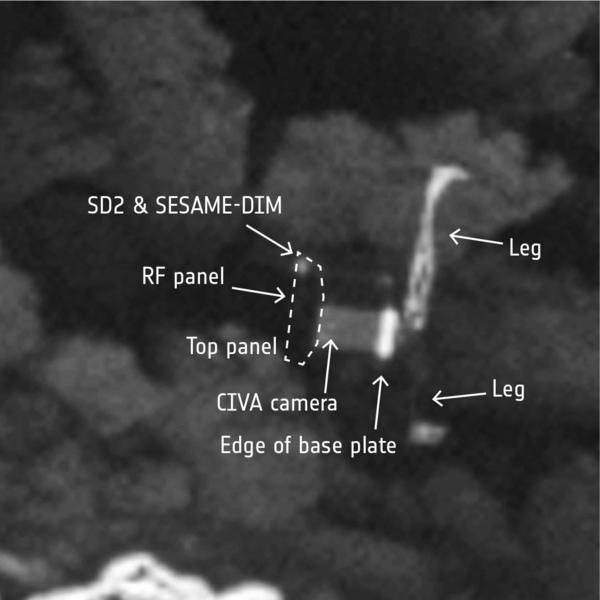The high-resolution photo shows about 5 cm per pixel. That's enough for scientists to be able to discern a number of Philae's features.