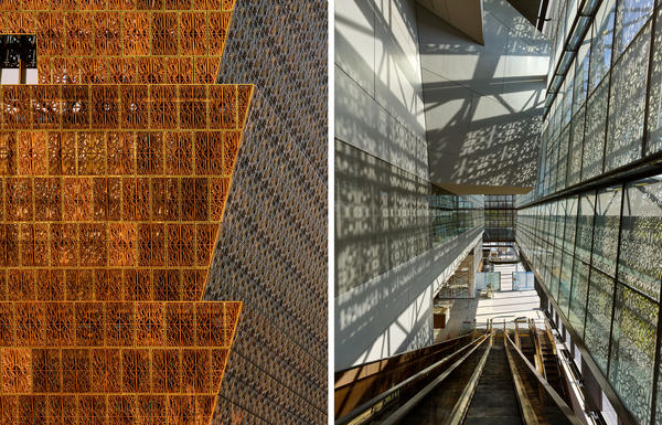 Detail of the museum's latticework and light through the 3,600 panels of shimmering, bronze filigree that sheath the glass building.