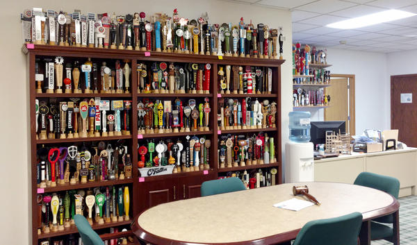 Snazzy beer taps on display at the AJS offices.