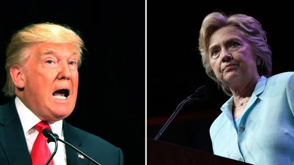 Left: Donald Trump speaks at a lunch hosted by the Economic Club of New York on Sept. 15. Right: Hillary Clinton addresses the National Association of Black Journalists and the National Association of Hispanic Journalists on Aug. 5.