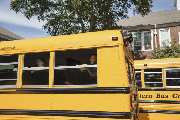 Bryan Bailey heads home from school with fellow METCO students.