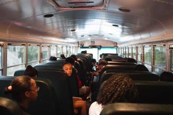 Students on the early-morning METCO bus ride to Newton, Mass.
