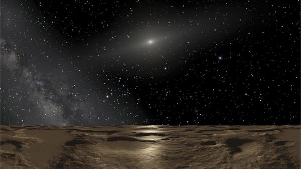 "An artist's conception of the view from the dwarf planet Sedna. <a href=""http://www-personal.umich.edu/~gerdes/"">David Gerdes</a> of the University of Michigan says the surface of 2014 UZ224 would look much the same."